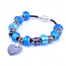 Blue Personalised European Style Bracelet with Engraved Heart Charm